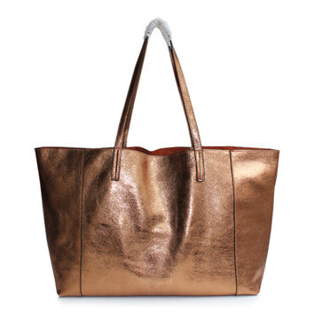 Bronze Distressed Leather Large Leather Tote. Metallic Large Shopper Bag. Weeken