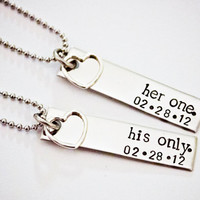 Her One, His Only - WITH DATE - Couples Jewelery - Hand Stamped Stainless Steel Necklace Set - Sterling Silver Heart Charm