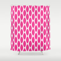 Shower Curtain - Fuchsia Ikat Petals - Pink and White - Housewarming Gift - Glamour Decor - Bathroom Shower Curtain - Teen Room Decor