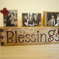 Wood Sign Decor Family blessings with photo blocks primitive and rustic Fall/Autumn decor Christmas December personalized pictures of family