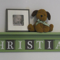 """Baby Nursery Wall Decor 36"""" LIght Green Shelf - 9 Wood Wall Letters Plaques Brown and Green for CHRISTIAN"""