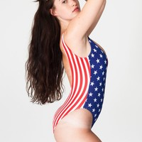 rnt58sp - US Flag Print Malibu Swimsuit