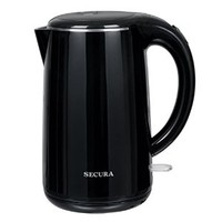 Secura 1.8 Quart Stainless Steel Electric Water Kettle Double Wall Cool Touch Exterior (Black)