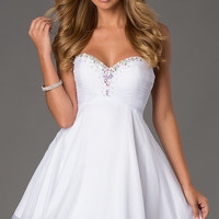 Short Strapless Lace Up Homecoming Dress by Alyce Paris 3598