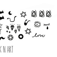 20+ Lovely Small Collection tattoo set - InknArt Temporary Tattoo - pack mini wrist quote tattoo body sticker fake tattoo wedding tattoo