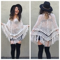 Vintage Fringe Poncho Crochet Off White Sweater OS