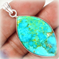 Tophatter : Natural Arizona Turquoise in Sterling Silver Pendant...