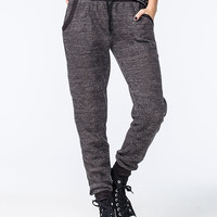 Socialite Waffle Knit Womens Jogger Pants Black/Grey  In Sizes