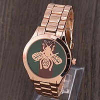 GUCCI New fashion dial stripe letter bee couple quartz wristwatch watch