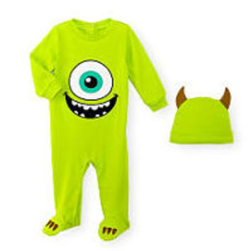 Disney Baby Boys 2 Piece Monster's Inc. Mike Wazowski Footie and Matching Hat Set