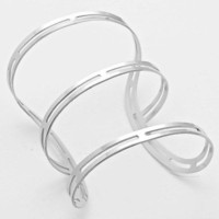 "3.50"" silver triple band cuff bangle bracelet basketball wives"