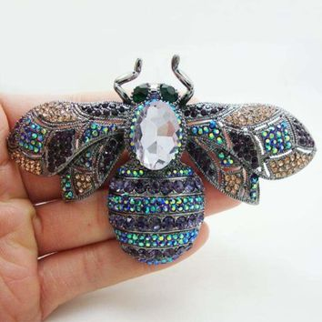 Gothic Style Classic Bee Insectl Purple Rhinestone Crystal Brooch Pin Woman Jewelry