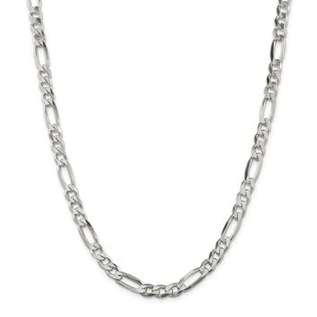 Sterling Silver 6.5mm Figaro Chain Necklace
