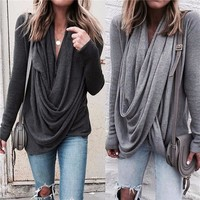 Sexy Women Fashion Autumn and Winter Casual Long Sleeve T Shirt Shirts Tops Plus Size