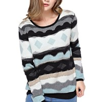 TopStyliShop Women's Stripes and Rhombus Pattern Round Neck Multicolor Sweater F1104