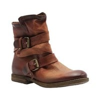 A. S. 98 Rust Leather Strapped Ankle Boot With Double Buckles.