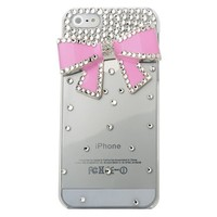 MinisDesign® 3d Bling Crystal Bow Transparent Case for The New Apple Iphone 5 (Pink, Fits: At&t, Sprint, Verizon)