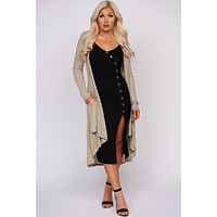 Don't Say Goodbye Ribbed Duster Cardigan (Oatmeal)