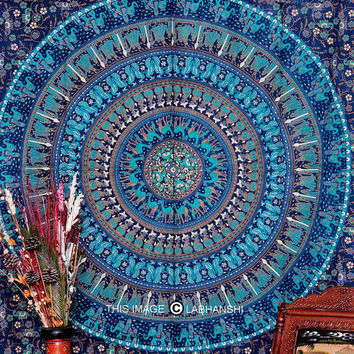 Blue Camle Mandala Tapestry , Indian Hippie Wall Hanging , Bohemian Twin Wall Hanging, Bedspread Beach Coverlet throw Decor Art