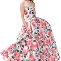 Pink floral prom dress # MZ3477