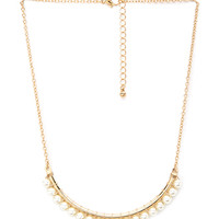 FOREVER 21 Faux Pearl Crescent Necklace Cream/Gold One