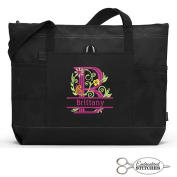 Floral Monogrammed Personalized Zippered Tote Bag with Mesh Pockets, Beach Bag