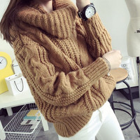 Oversized Knit Turtle Neck Sweater