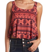 BOW-BACK TRIBAL PRINT CROP TOP