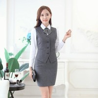 Fashion Women Business Suits with Skirt and Vest Waistcoat Sets Slim Female Work Wear Clothes Ladies Office Uniform Style OL