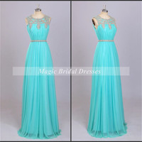 Beading Blue Chiffon Prom Dress Shining Beading around Neck and Waist Charming Slim Women Long Prom Dresses Summer Style Chiffon Dresses