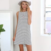 Striped Sleeveless A-Line Mini Dress