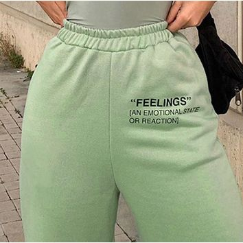 New thermal slim-fit elastic waistband letter print sweatpants