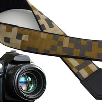 Camera Strap camouflage. Brown, beige, green, grey  DSLR / SLR Camera Strap. Men's accessories by InTePro