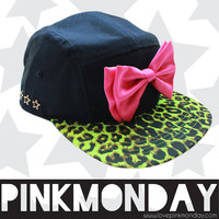 Hot Pink and Cheetah Print 5 Panel Hat / Snapback / Women Girls / Hot Pink/ Neon Lime Green / Leather Strap / One Size Fits All