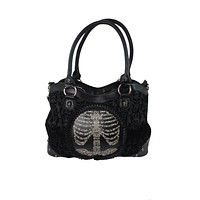 Goth Steampunk Black Flocked Ribcage Skeleton Cameo Handbag Shoulder Bag
