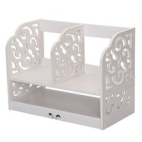 Home Office White Wooden Desk Tidy Stationery Pen Organiser Holder Shabby Chic Pattern:Filigree