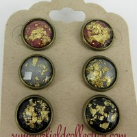 Trio Antiqued Bronze-Tone Stud Earrings 12mm Gold Leaf Faceted Resin Red Gray Black