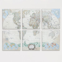 Six-Piece World Map Set, Set of 6 - World Market