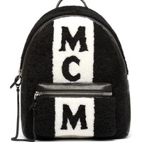 MCM Stark Genuine Shearling Stripe Canvas Backpack | Nordstrom