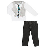 Calvin Klein Boys 2 Piece White Long Sleeve Vest Graphic T Shirt and Jeans Playwear Set
