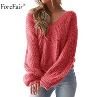 Forefair V Neck Knitted Sweater Women Autumn Back Tied Long Sleeve Sexy Sweater Yellow White Black Winter Sweater Ladies