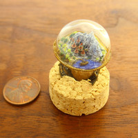 adjustable bronze ring, three-dimensional miniature landscape with city, mountains, sea and ship, very detailed