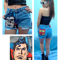 """Superman HIgh Waisted Shorts Comic Fabric Denim Jeans Superhero Hipster Studded """"Your Size"""" //SUZNEWS ETSY STORE//"""