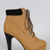Lace Up Heeled Combat Ankle Boots