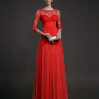 Long Sleeve Lace Mosaic Hollow Out Prom Dress Ball Gown One Piece [4918232580]