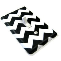 White and Black Chevron Blake Light Switch Cover by ModernSwitch