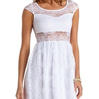 CAP SLEEVE CUT-OUT LACE SKATER DRESS