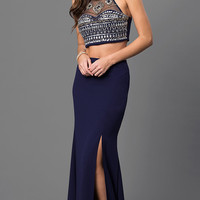 Navy Two Piece Jeweled Bodice Sequin Hearts Dress
