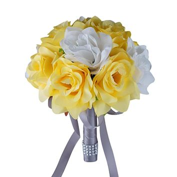 """8"""" Bouquet - Yellow and White Artificial Roses with Light Grey Ribbon - Artificial Wedding Bouquet"""