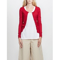 Lightweight Round Neck Fine Knit Cardigan Sweater with Stretch (CLEARANCE)